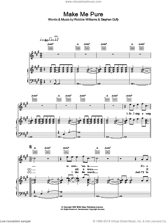 Make Me Pure sheet music for voice, piano or guitar by Stephen Duffy and Robbie Williams. Score Image Preview.
