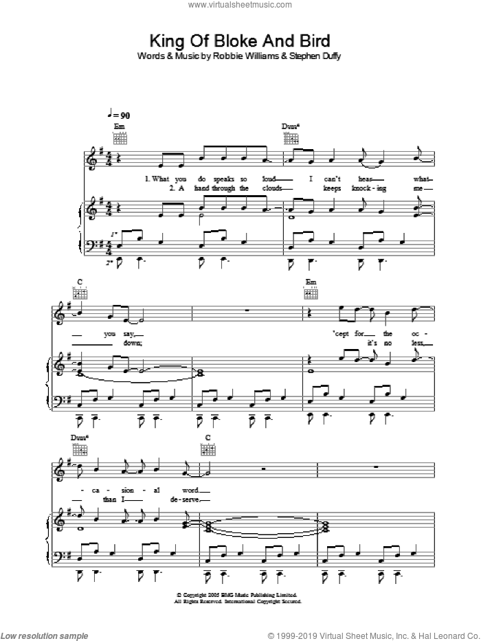 King Of Bloke And Bird sheet music for voice, piano or guitar by Stephen Duffy and Robbie Williams. Score Image Preview.