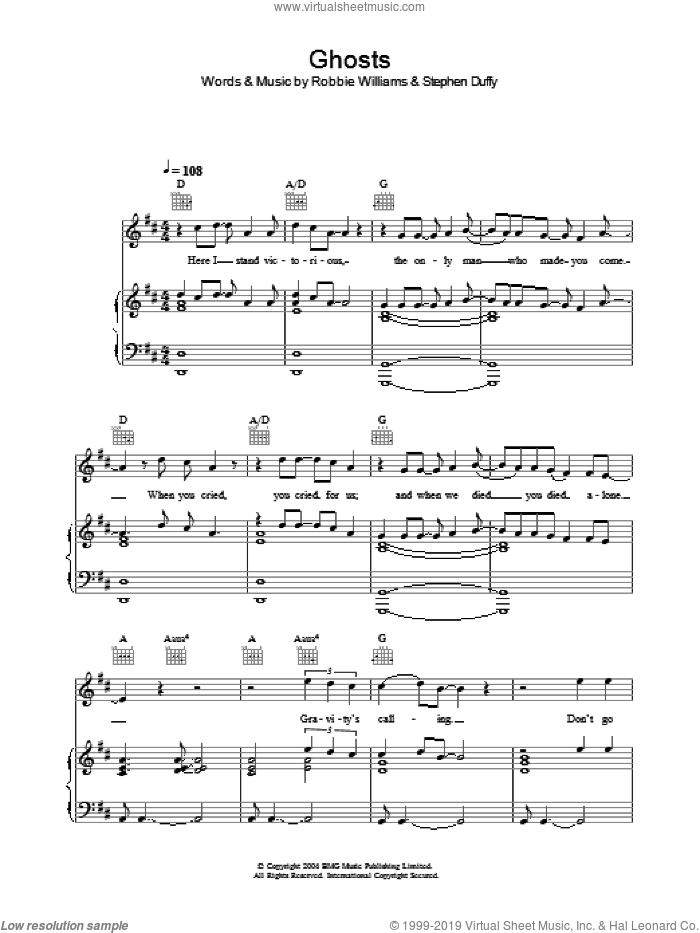 Ghosts sheet music for voice, piano or guitar by Stephen Duffy