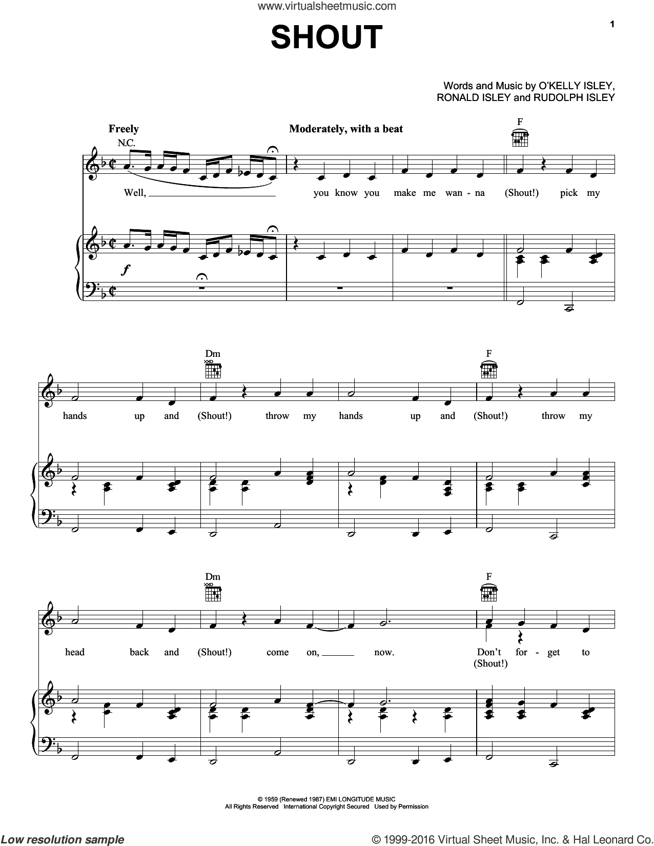 Shout sheet music for voice, piano or guitar by The Isley Brothers, Billy Joel and O Kelly Isley, intermediate voice, piano or guitar. Score Image Preview.
