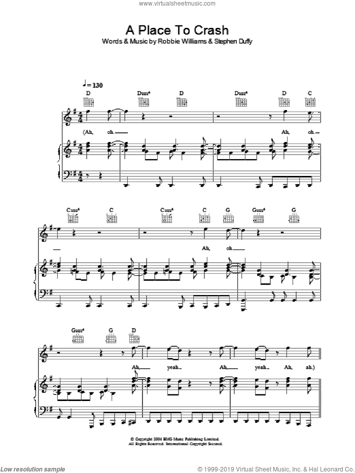 A Place To Crash sheet music for voice, piano or guitar by Stephen Duffy and Robbie Williams. Score Image Preview.