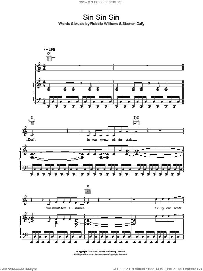 Sin Sin Sin sheet music for voice, piano or guitar by Stephen Duffy and Robbie Williams. Score Image Preview.