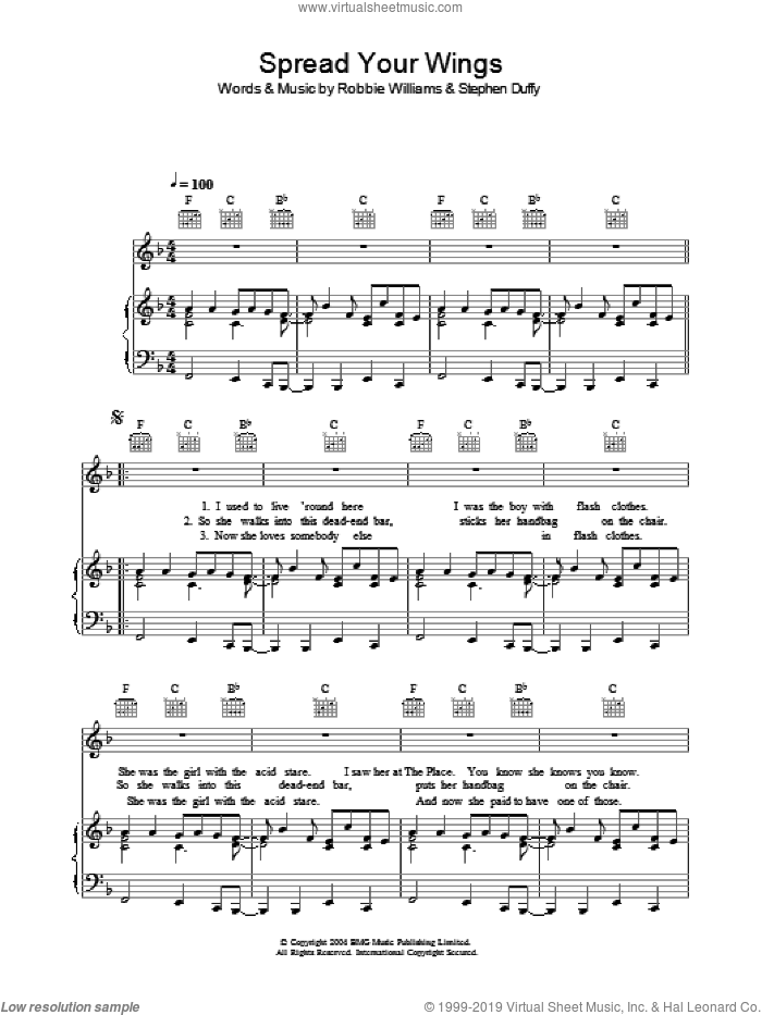 Spread Your Wings sheet music for voice, piano or guitar by Stephen Duffy and Robbie Williams. Score Image Preview.