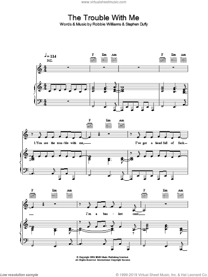 The Trouble With Me sheet music for voice, piano or guitar by Robbie Williams and Stephen Duffy. Score Image Preview.