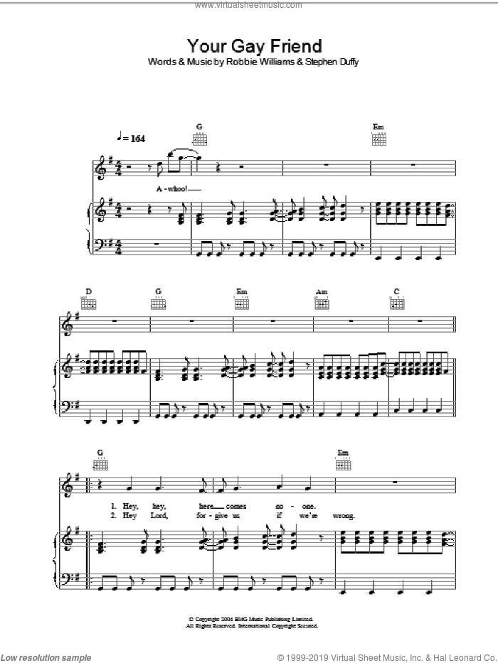Your Gay Friend sheet music for voice, piano or guitar by Stephen Duffy and Robbie Williams. Score Image Preview.