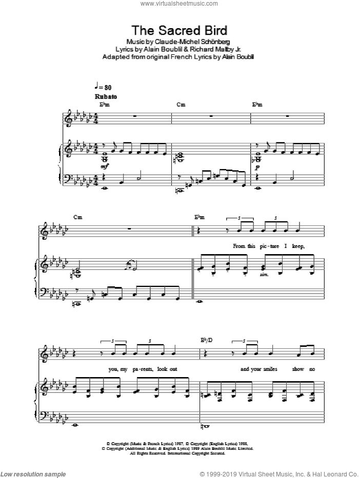 The Sacred Bird (from Miss Saigon) sheet music for voice, piano or guitar by Alain Boublil, Claude-Michel Schonberg and Richard Maltby, Jr., intermediate. Score Image Preview.