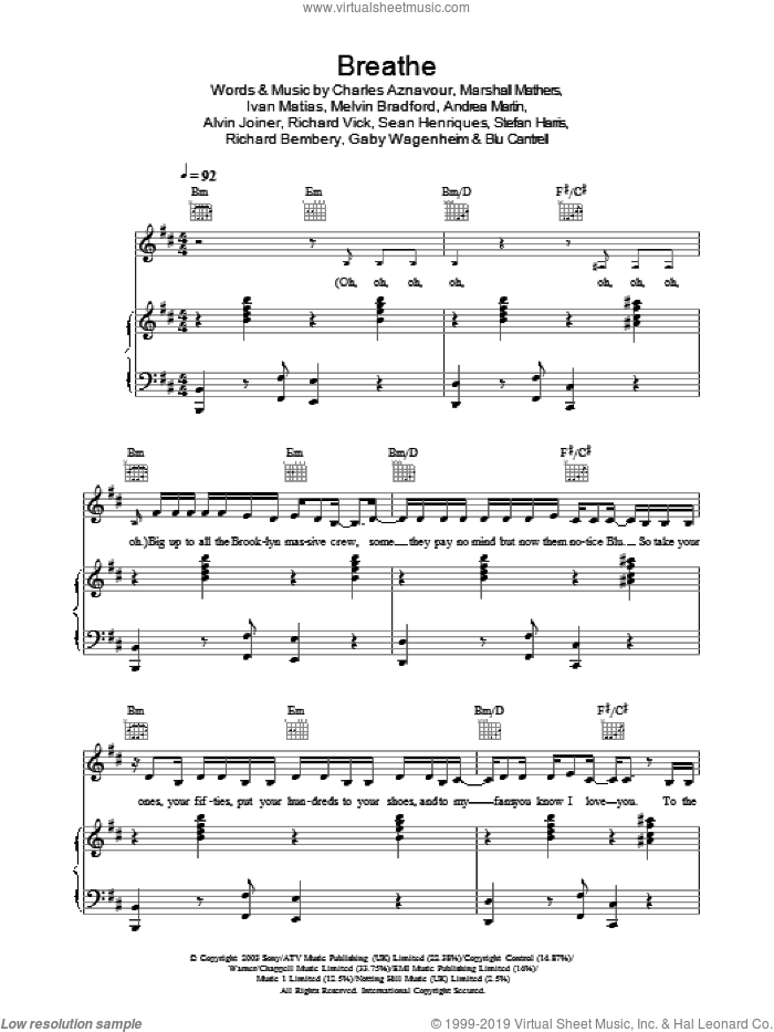 Breathe sheet music for voice, piano or guitar by Stefan Harris