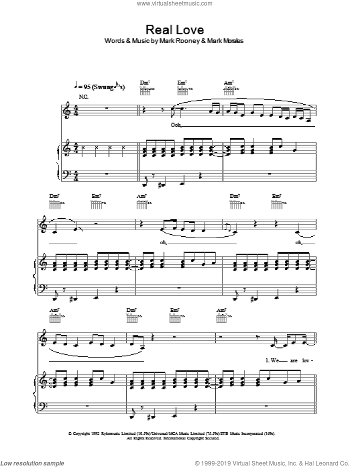 Real Love sheet music for voice, piano or guitar by Mark Rooney