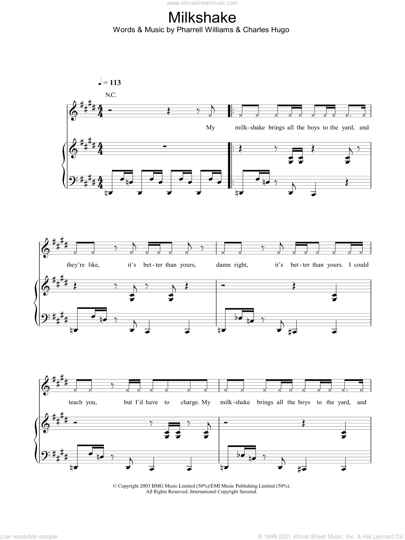 Milkshake sheet music for voice, piano or guitar by Kelis and Pharrell Williams. Score Image Preview.