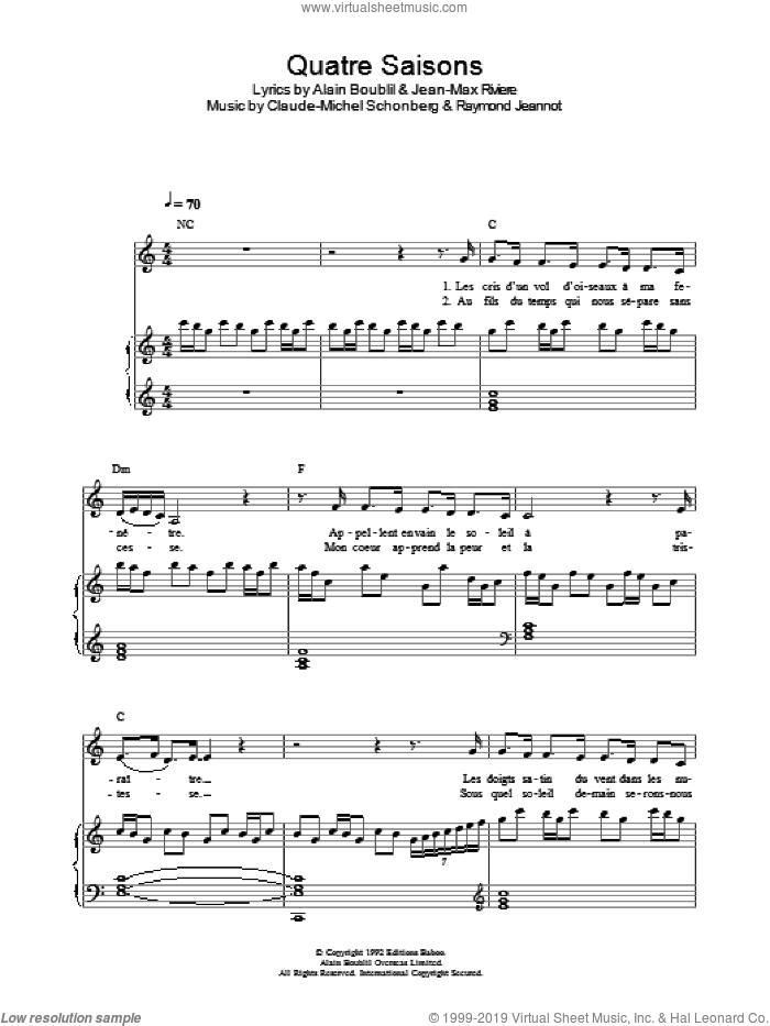 Quatre Saisons Pour Un Amour (from La Revolution Francaise) sheet music for voice, piano or guitar by Raymond Jeannot