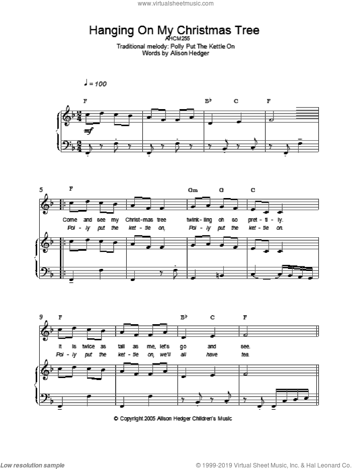 Hanging On My Christmas Tree sheet music for voice, piano or guitar by Alison Hedger and Miscellaneous, intermediate. Score Image Preview.