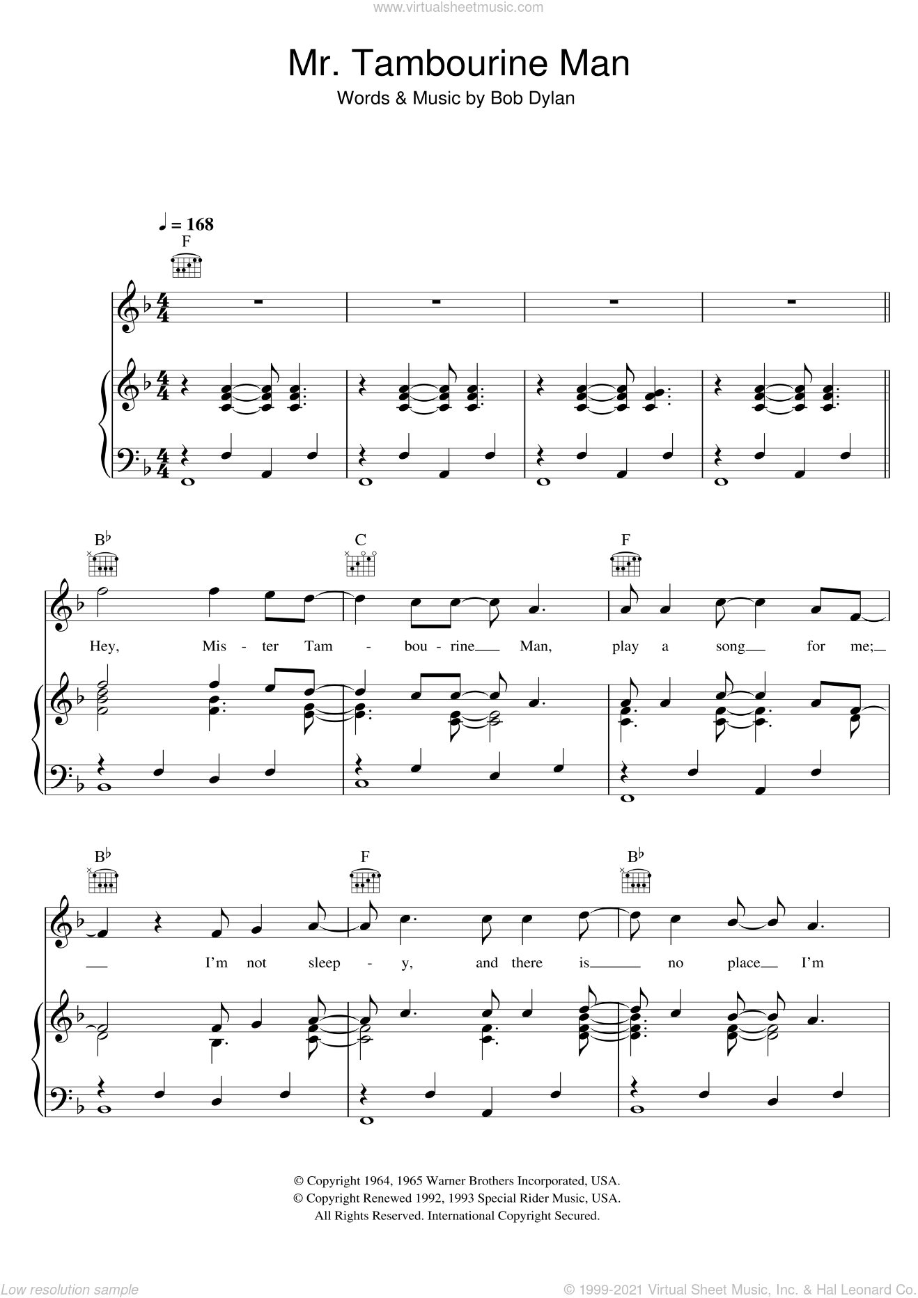 Mr. Tambourine Man sheet music for voice, piano or guitar by Bob Dylan. Score Image Preview.