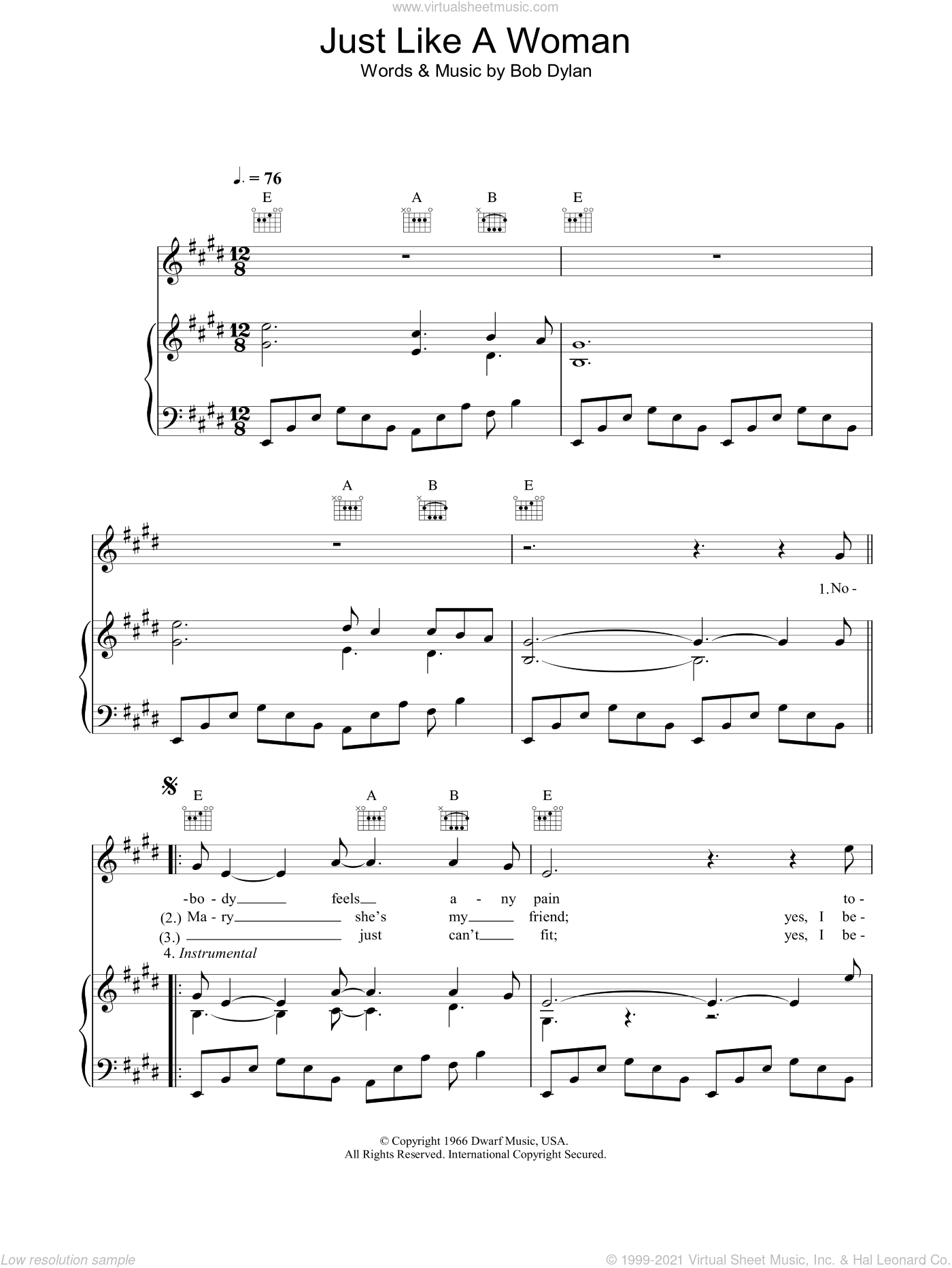 Just Like A Woman sheet music for voice, piano or guitar by Bob Dylan. Score Image Preview.