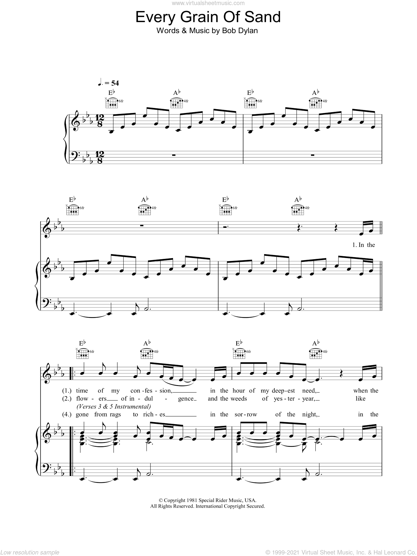 Every Grain Of Sand sheet music for voice, piano or guitar by Bob Dylan, intermediate. Score Image Preview.