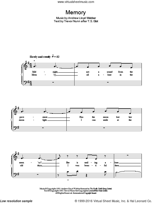 Memory (from Cats) sheet music for piano solo by Trevor Nunn and Andrew Lloyd Webber. Score Image Preview.