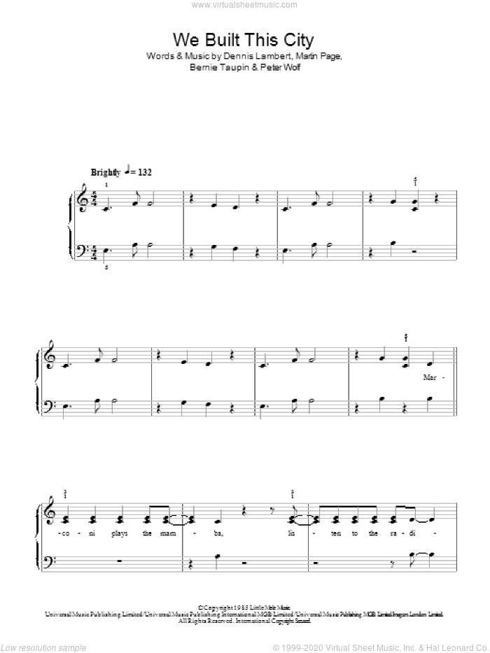We Built This City sheet music for piano solo by Peter Wolf, Starship, Bernie Taupin, Dennis Lambert and Martin George Page. Score Image Preview.