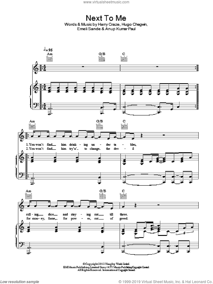 Next To Me sheet music for voice, piano or guitar by Emeli Sande, Anup Kumar Paul, Harry Craze and Hugo Chegwin, intermediate. Score Image Preview.
