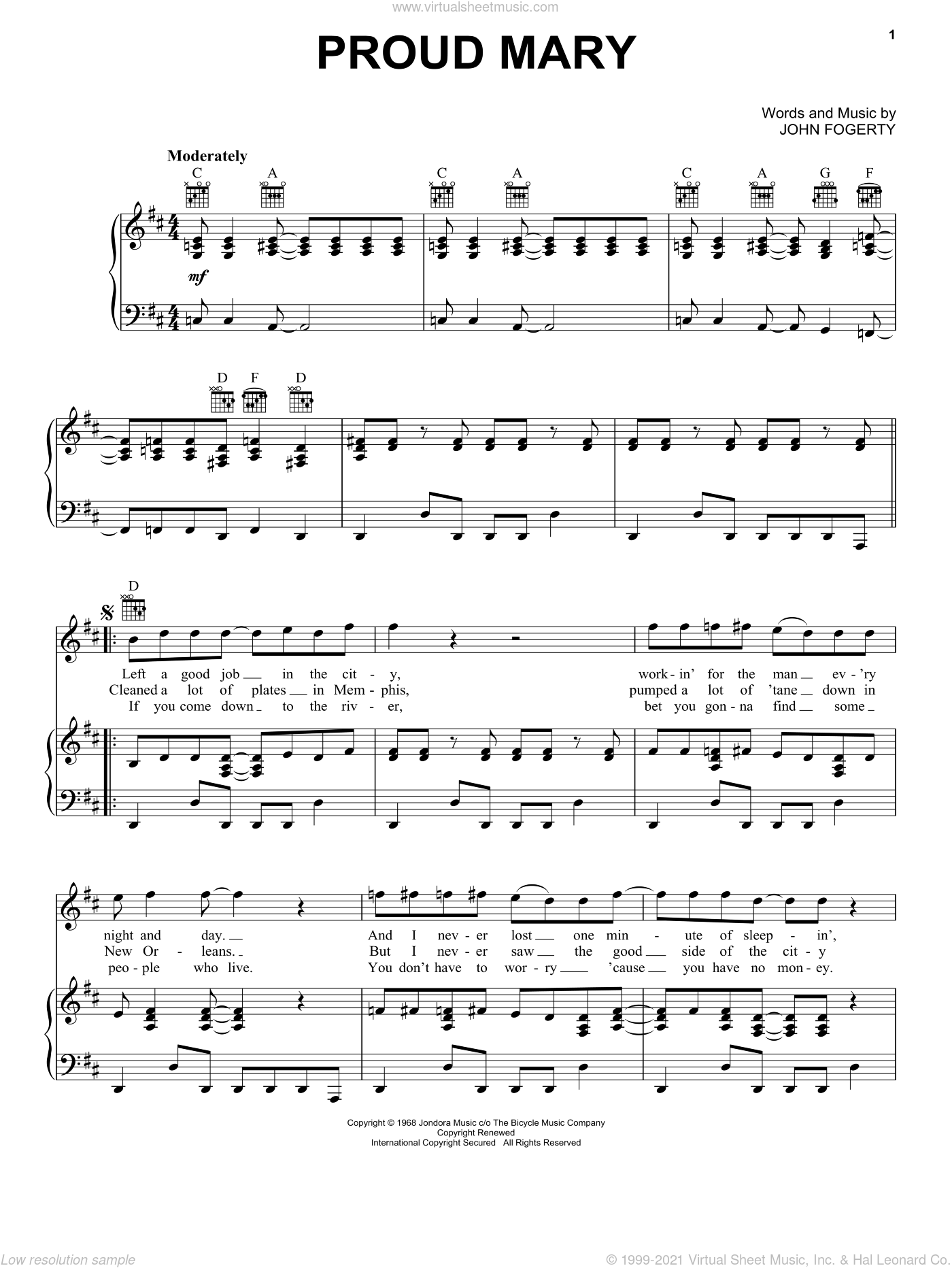 Proud Mary sheet music for voice, piano or guitar by John Fogerty