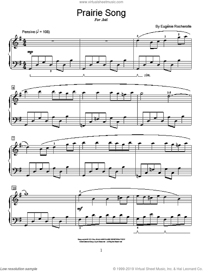 Prairie Song sheet music for piano solo (elementary) by Eugénie Rocherolle, Eugenie Rocherolle and Miscellaneous, beginner piano (elementary). Score Image Preview.