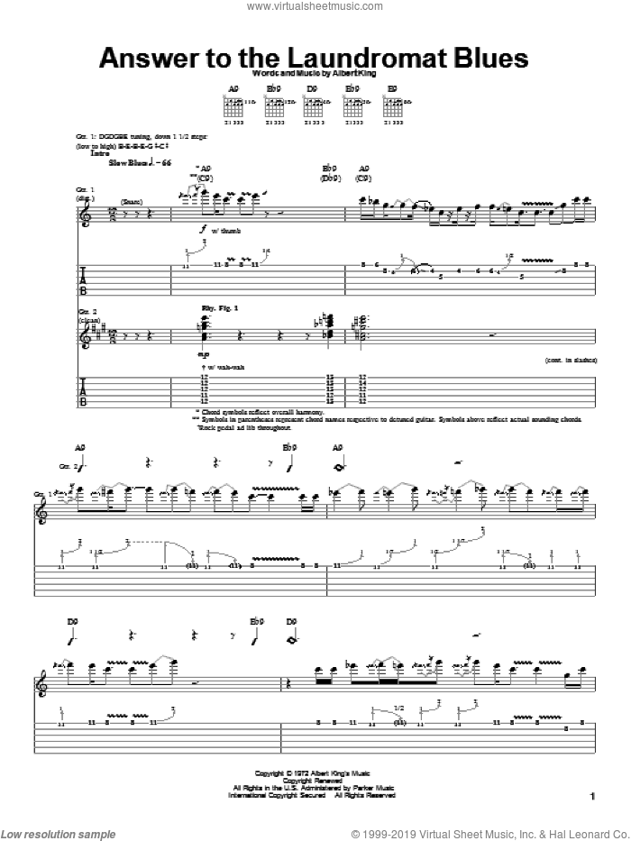 Answer To The Laundromat Blues sheet music for guitar (tablature) by Albert King. Score Image Preview.