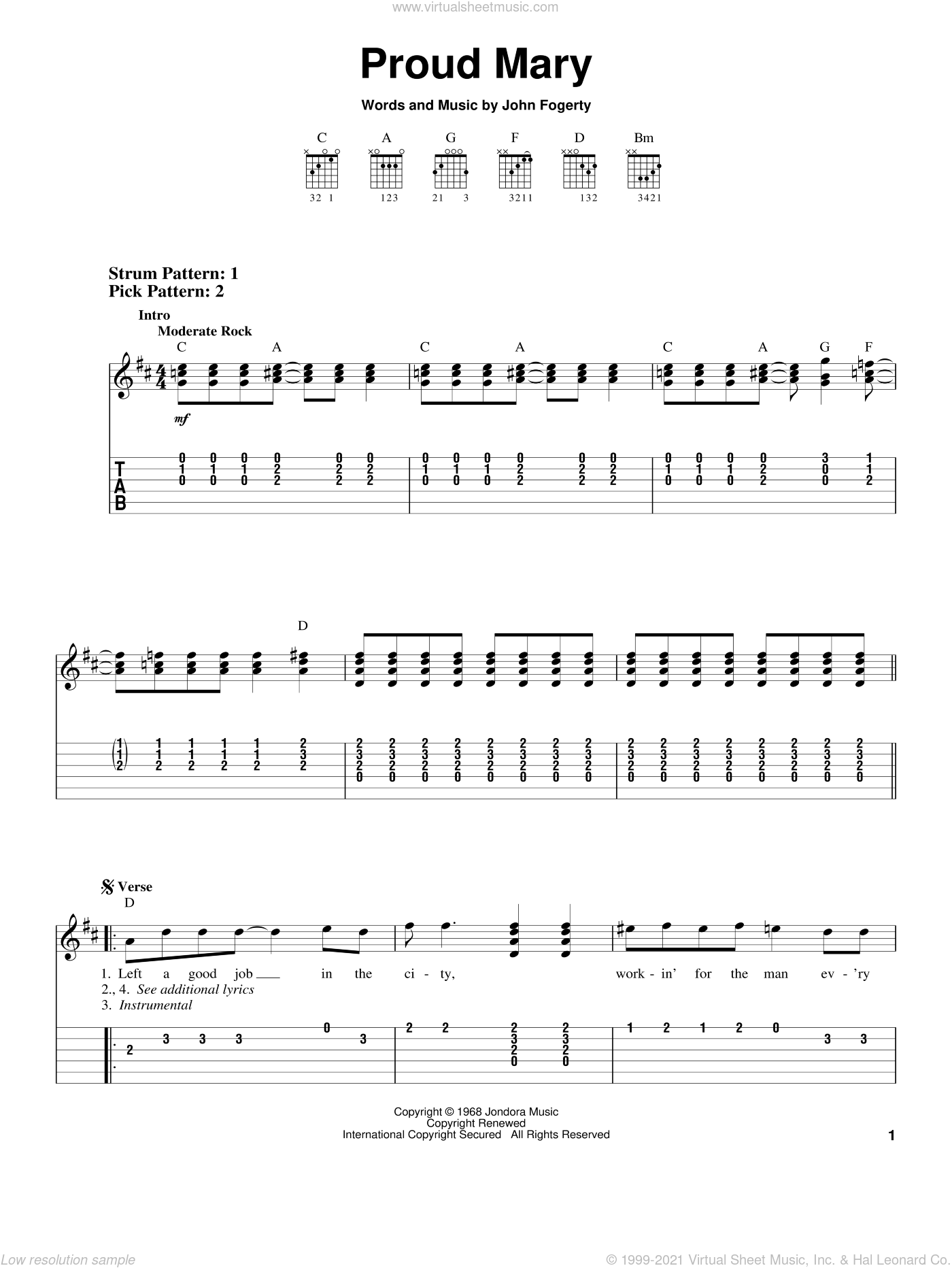 Proud Mary, (easy) sheet music for guitar solo (easy tablature) by Creedence Clearwater Revival, Ike & Tina Turner and John Fogerty, easy guitar (easy tablature)