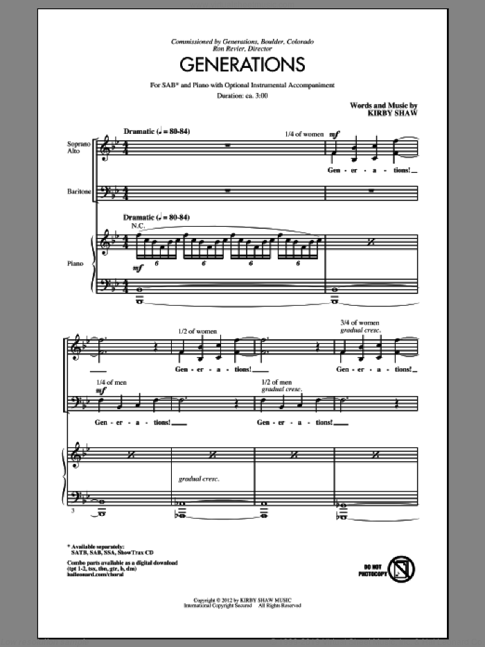 Generations sheet music for choir and piano (SAB) by Kirby Shaw. Score Image Preview.