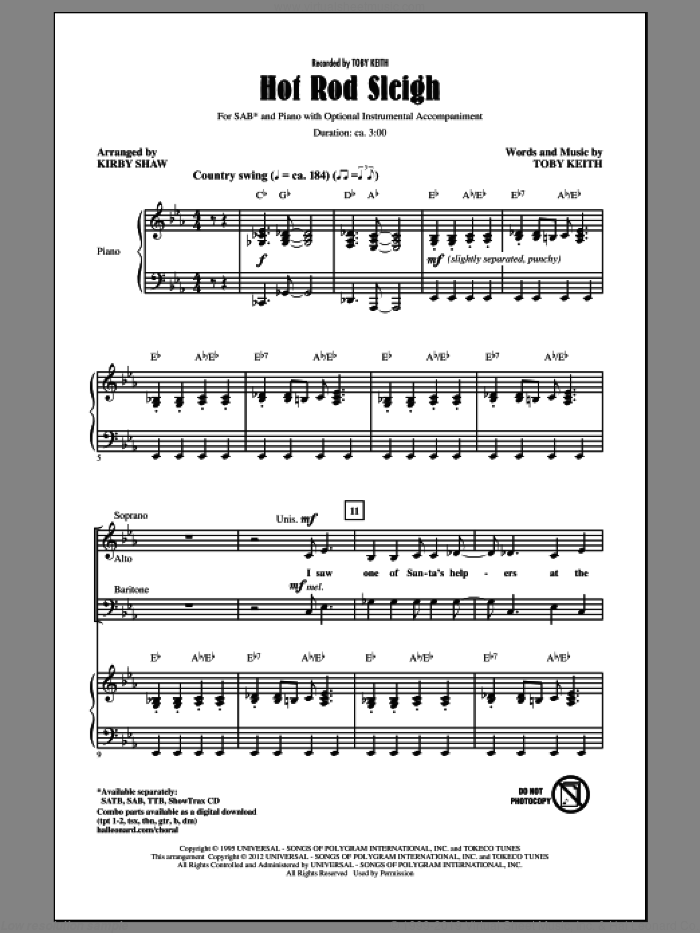 Hot Rod Sleigh sheet music for choir and piano (SAB) by Kirby Shaw and Toby Keith. Score Image Preview.