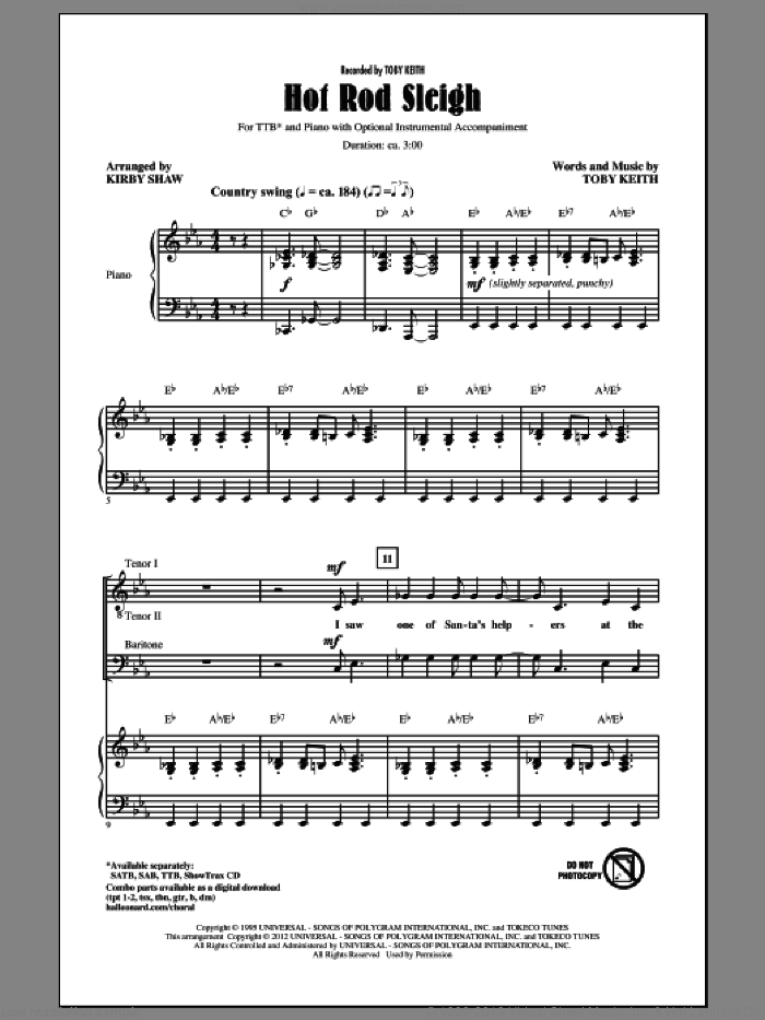 Hot Rod Sleigh sheet music for choir (tenor voice, bass voice, choir) by Kirby Shaw and Toby Keith. Score Image Preview.