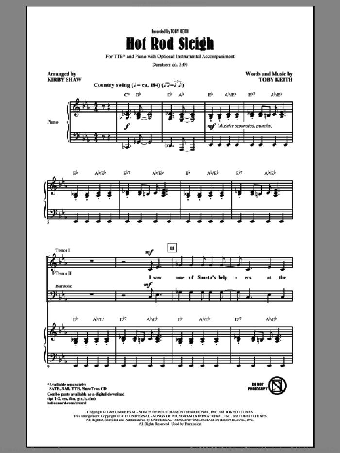 Hot Rod Sleigh sheet music for choir (TTBB: tenor, bass) by Kirby Shaw and Toby Keith, intermediate skill level