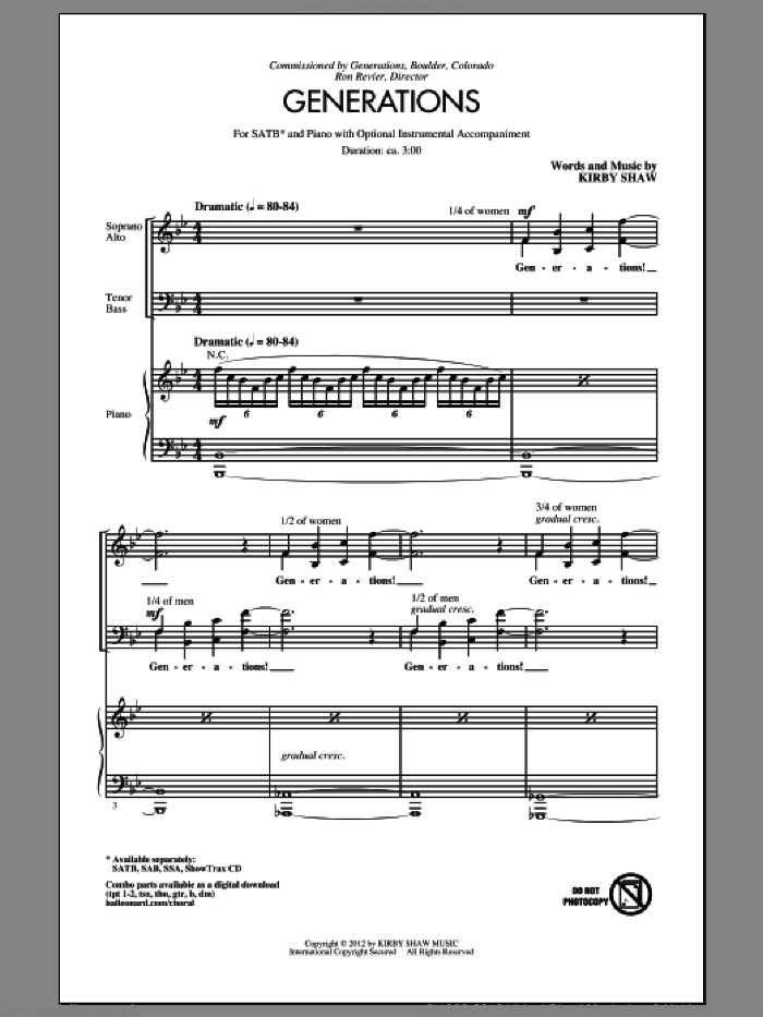 Generations sheet music for choir (SATB) by Kirby Shaw. Score Image Preview.