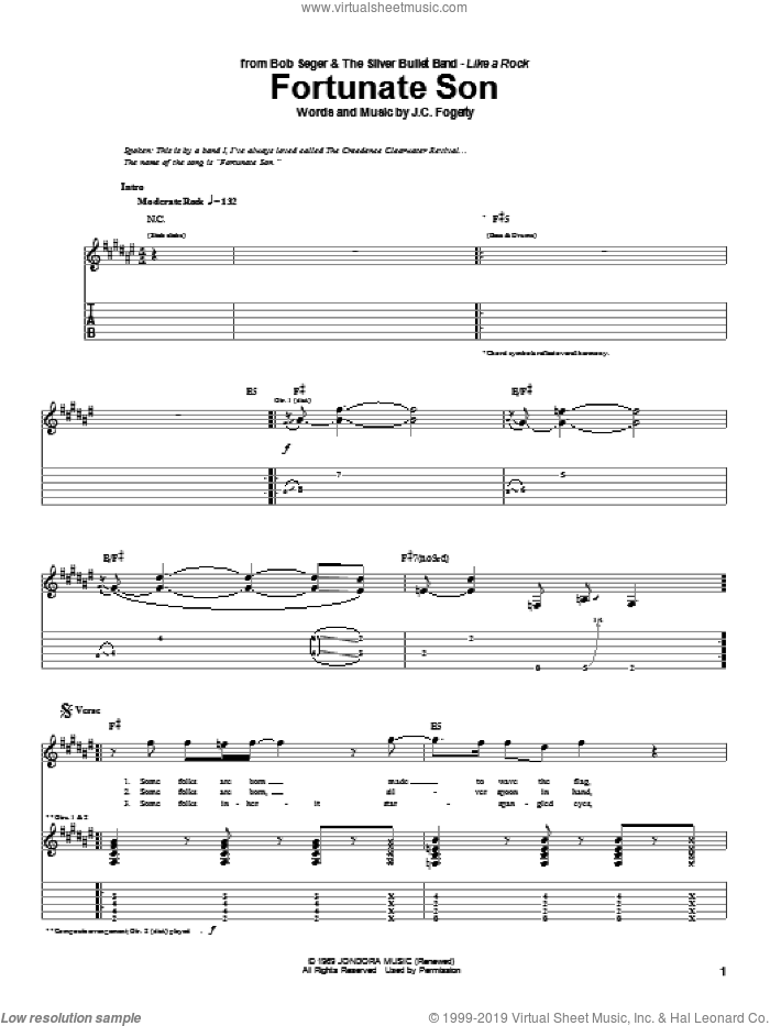 Fortunate Son sheet music for guitar (tablature) by John Fogerty, Bob Seger and Creedence Clearwater Revival. Score Image Preview.