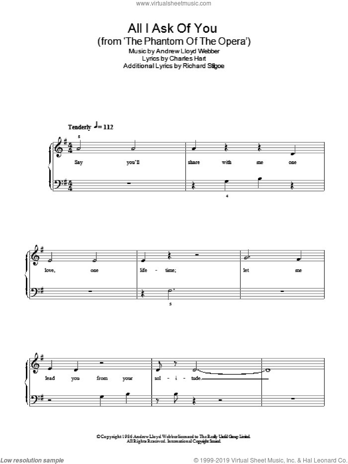 All I Ask Of You (from The Phantom Of The Opera) sheet music for piano solo by Andrew Lloyd Webber