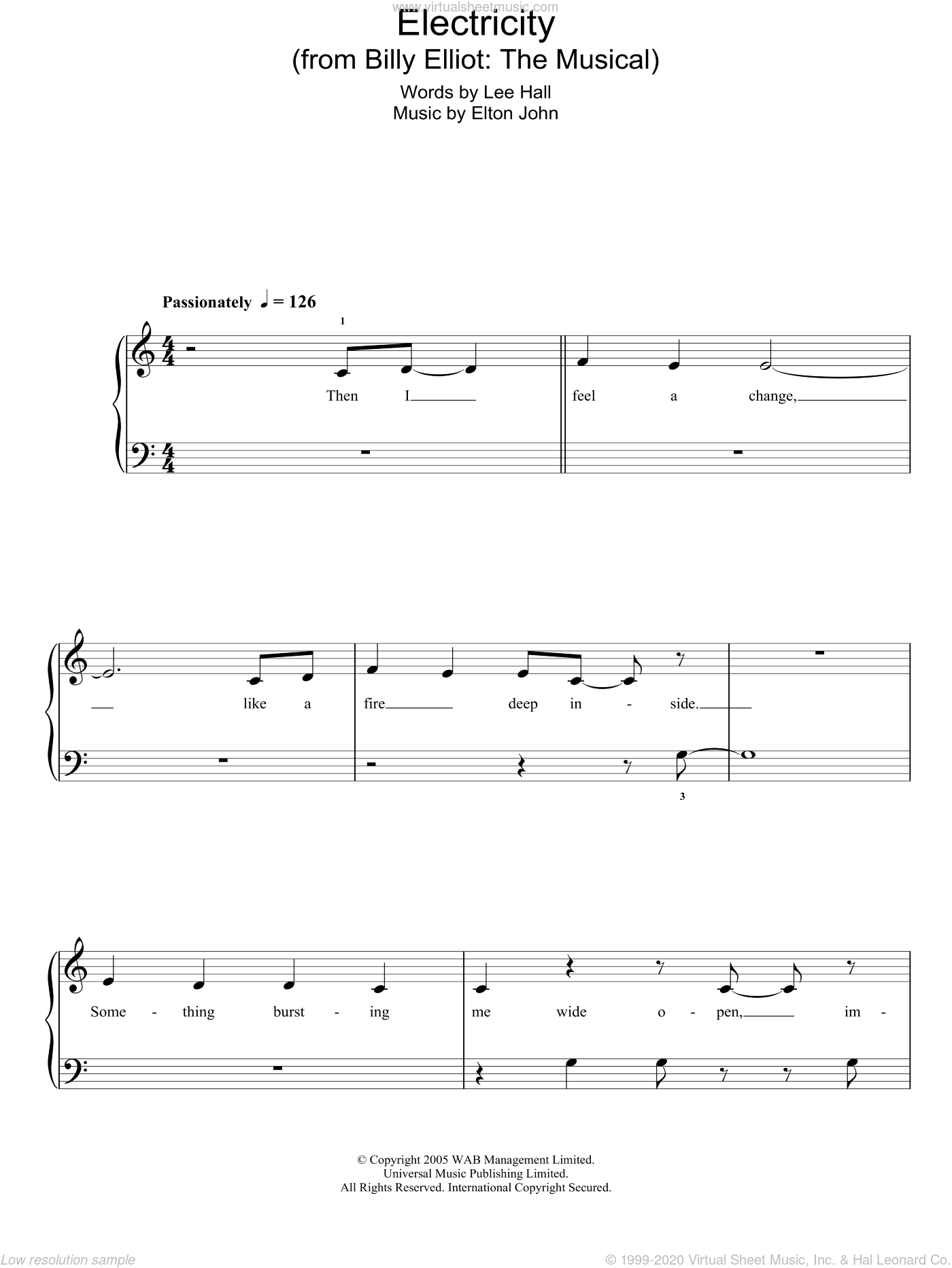 Electricity (from Billy Elliot: The Musical) sheet music for piano solo (chords) by Lee Hall