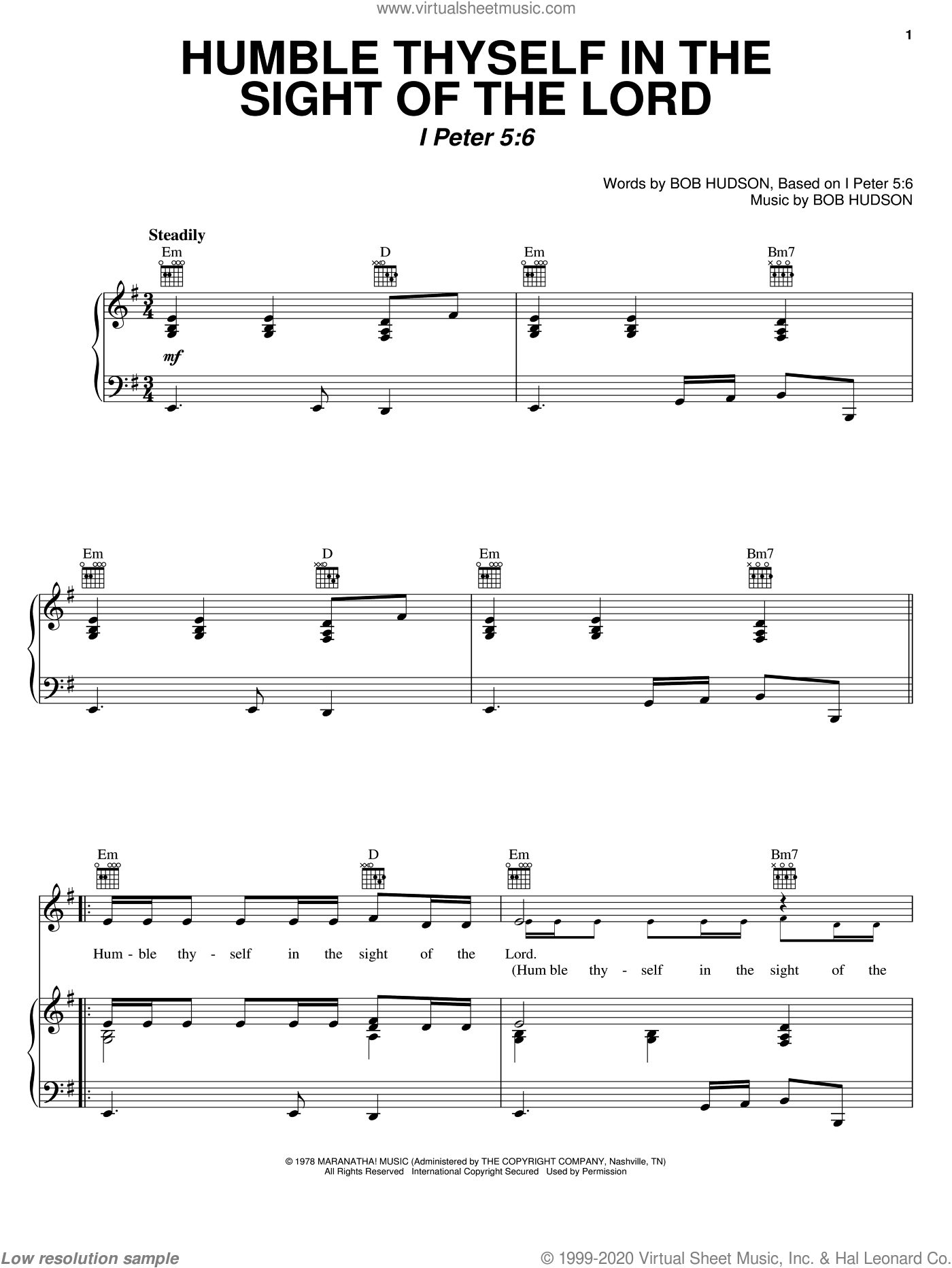 Humble Thyself In The Sight Of The Lord sheet music for voice, piano or guitar by Bob Hudson, intermediate skill level