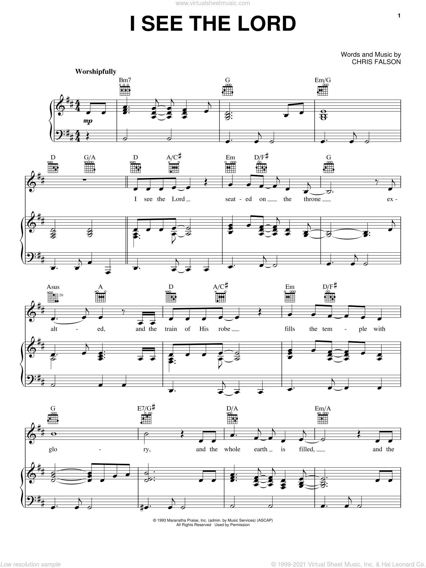 I See The Lord sheet music for voice, piano or guitar by Chris Falson, intermediate voice, piano or guitar. Score Image Preview.