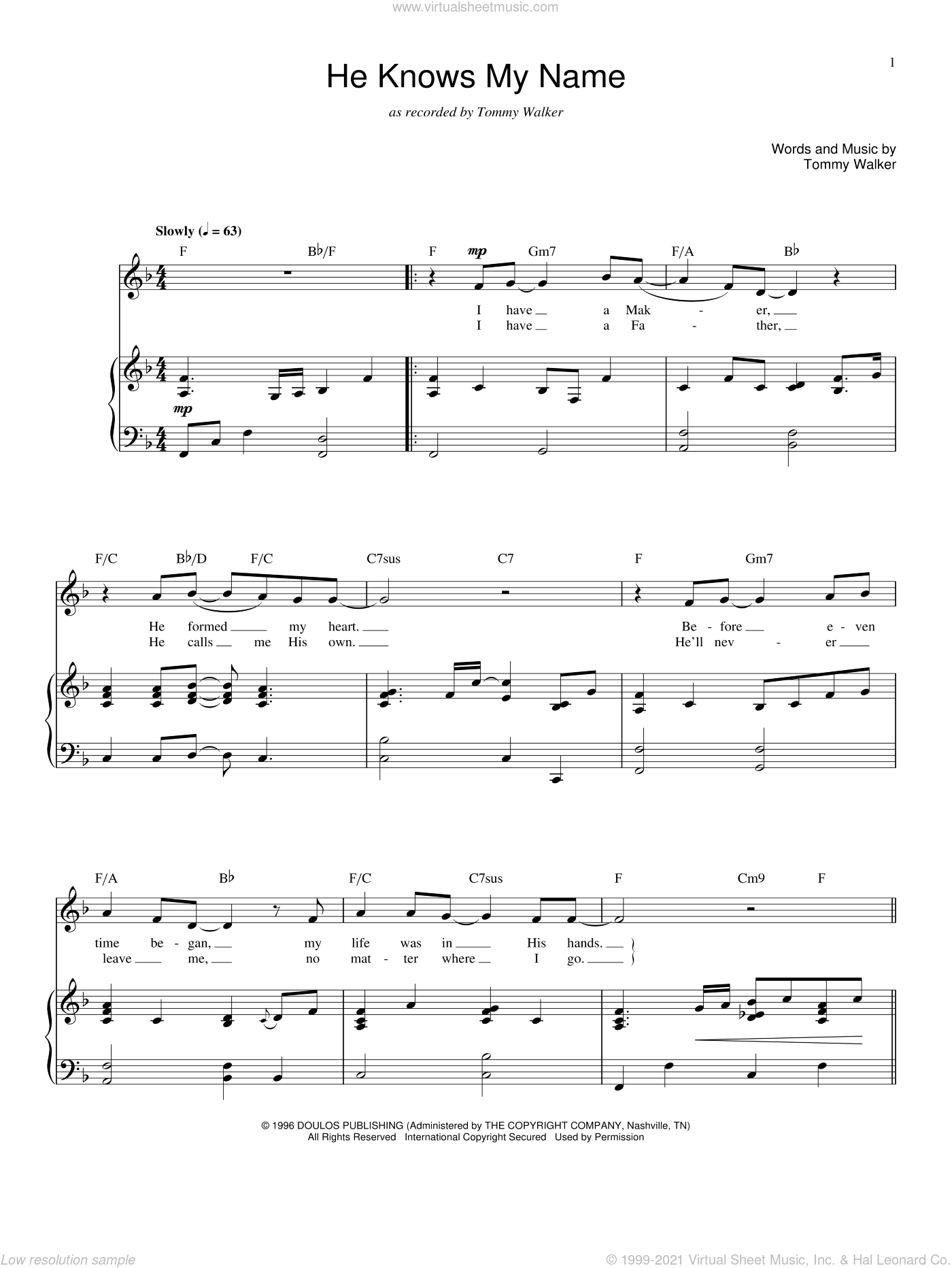He Knows My Name sheet music for voice and piano by Tommy Walker, intermediate voice. Score Image Preview.