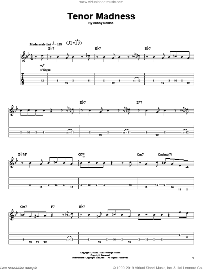 Tenor Madness sheet music for guitar (tablature, play-along) by Sonny Rollins, intermediate