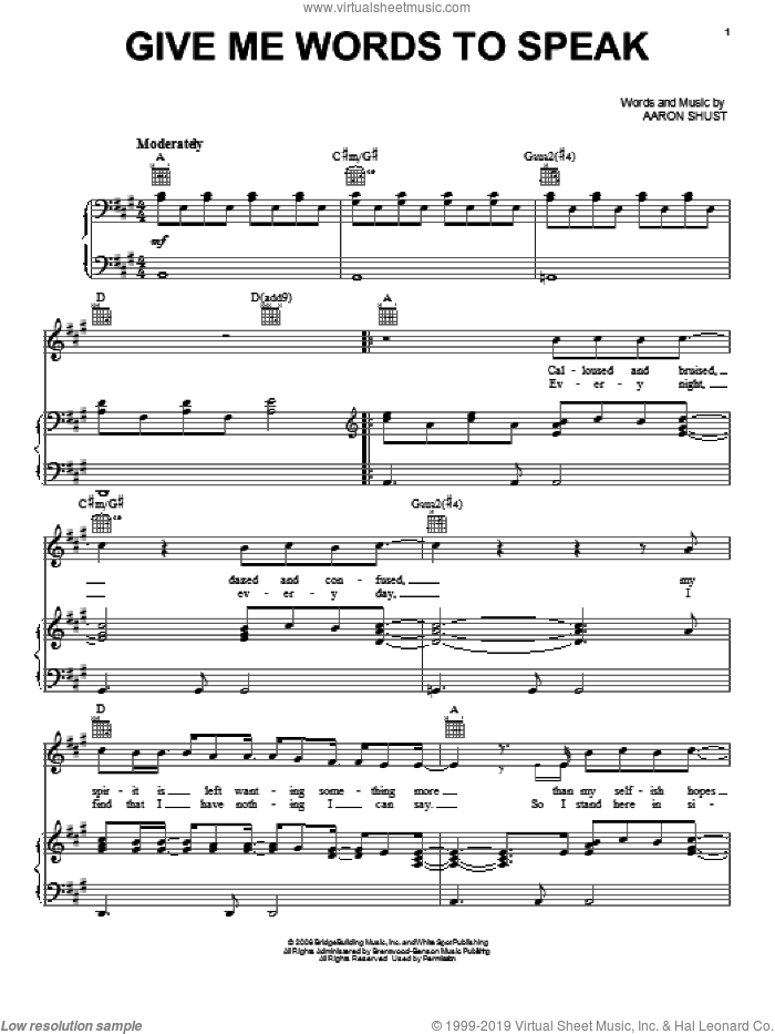 Give Me Words To Speak sheet music for voice, piano or guitar by Aaron Shust. Score Image Preview.
