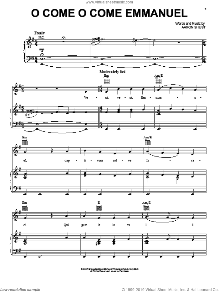 O Come O Come Emmanuel sheet music for voice, piano or guitar by Aaron Shust, intermediate skill level