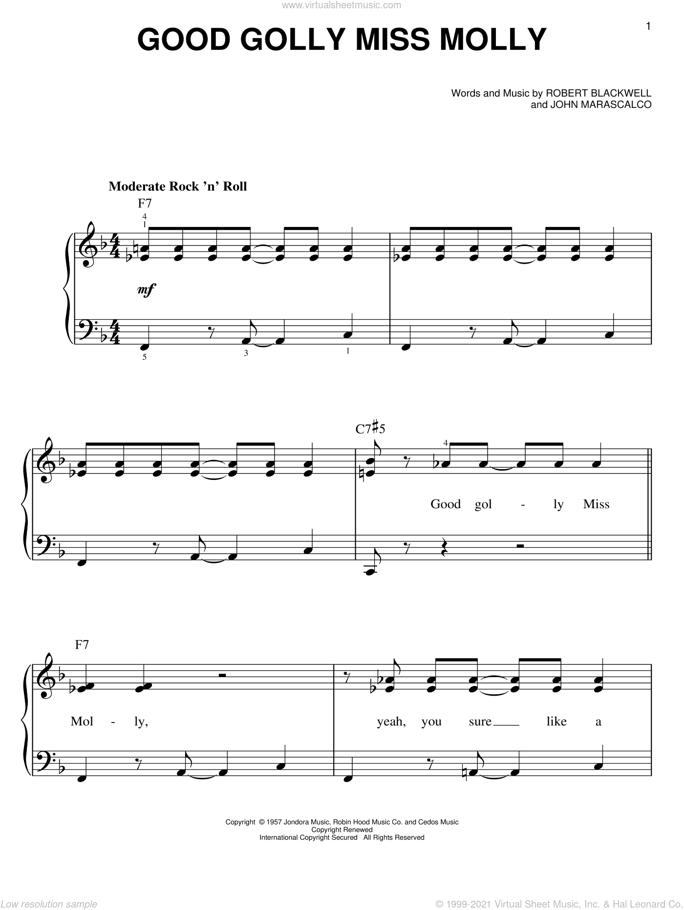 Good Golly Miss Molly sheet music for piano solo by Little Richard, John Marascalco and Robert Blackwell, easy skill level