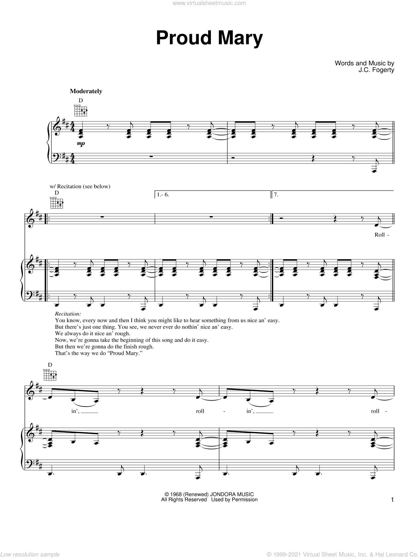 Proud Mary sheet music for voice, piano or guitar by Ike & Tina Turner, Creedence Clearwater Revival and John Fogerty, intermediate skill level