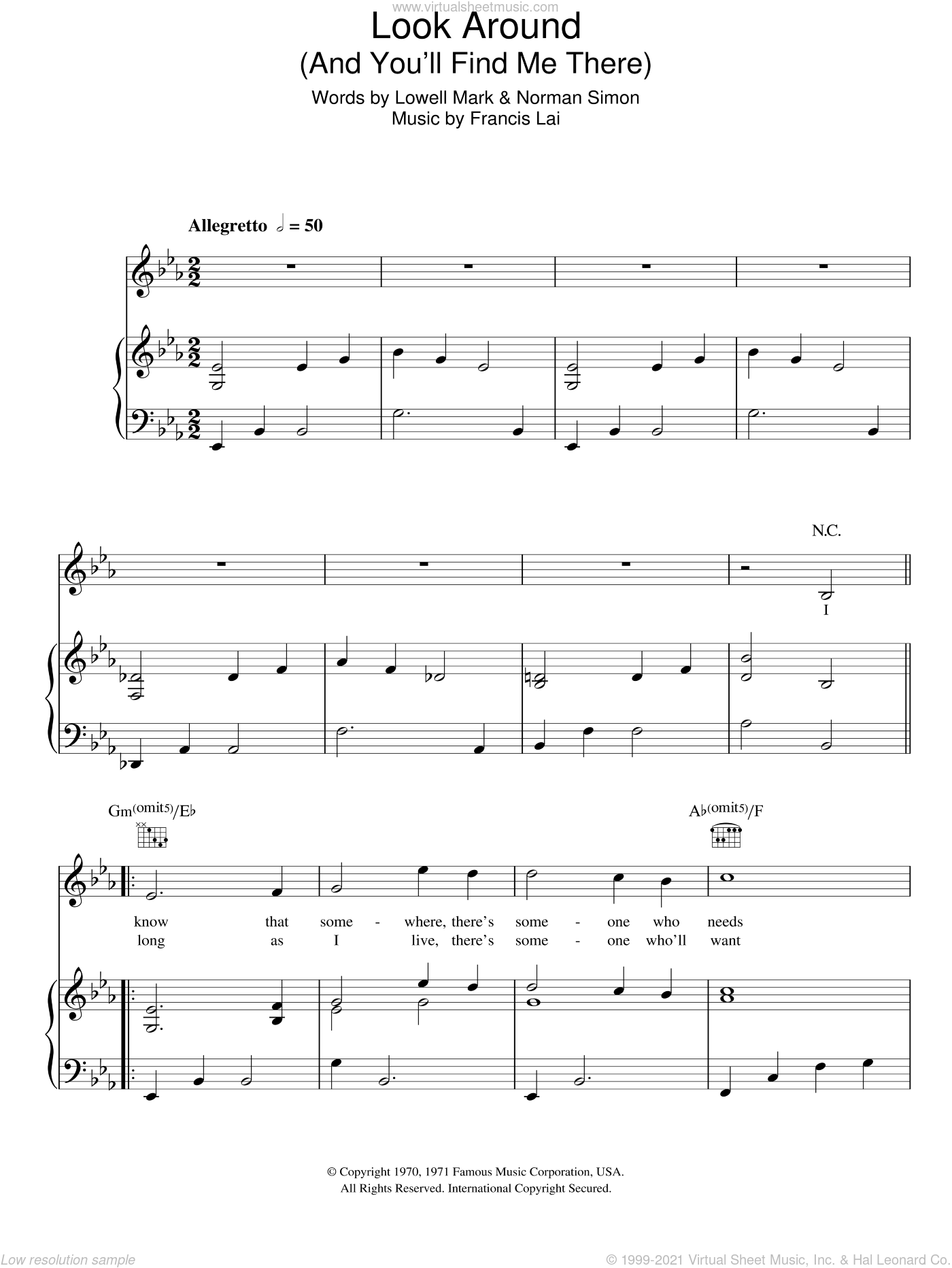 Look Around (And You'll Find Me There) sheet music for voice, piano or guitar by Norman Simon