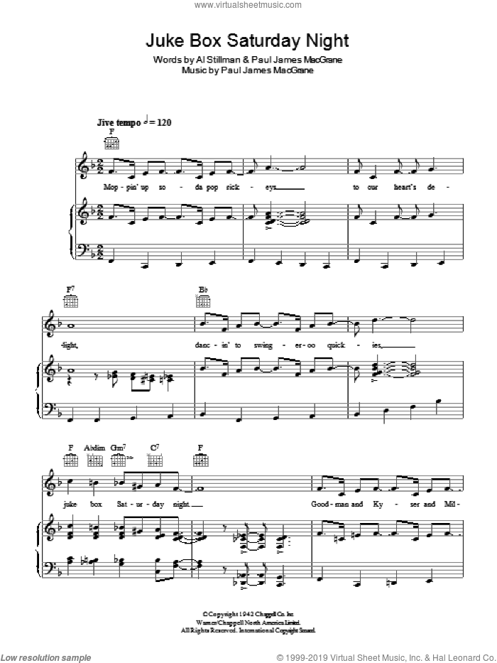Juke Box Saturday Night sheet music for voice, piano or guitar by Glen Miller and Al Stillman, intermediate. Score Image Preview.