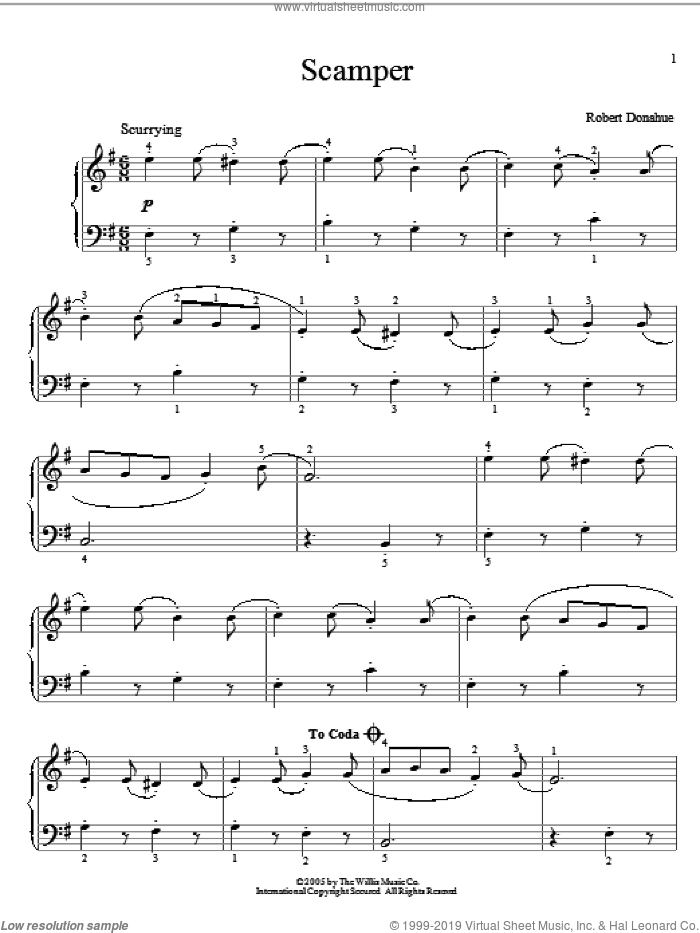 Scamper sheet music for piano solo (elementary) by Robert Donahue. Score Image Preview.