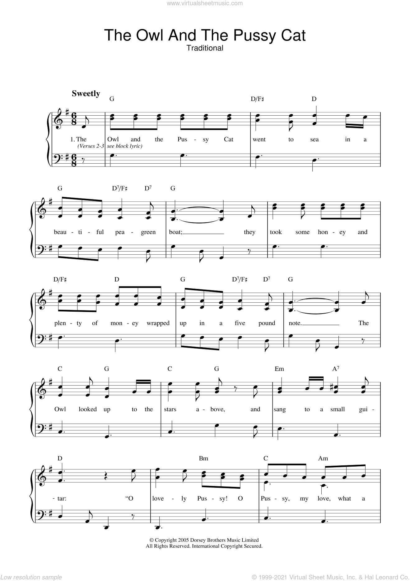 The Owl And The Pussy Cat sheet music for voice and piano, intermediate skill level