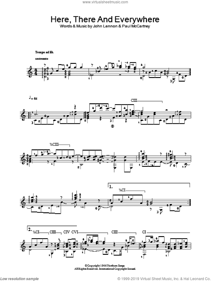 Here, There And Everywhere sheet music for guitar solo (chords) by The Beatles, John Lennon and Paul McCartney, easy guitar (chords)