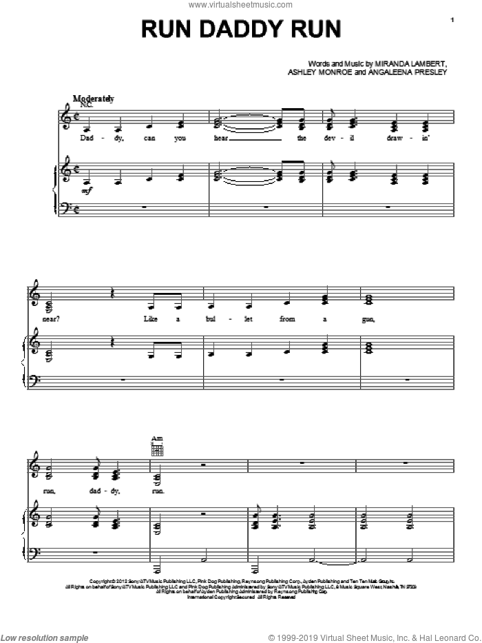 Run Daddy Run sheet music for voice, piano or guitar by Miranda Lambert, Angaleena Presley, Ashley Monroe, Hunger Games (Movie) and Pistol Annies, intermediate