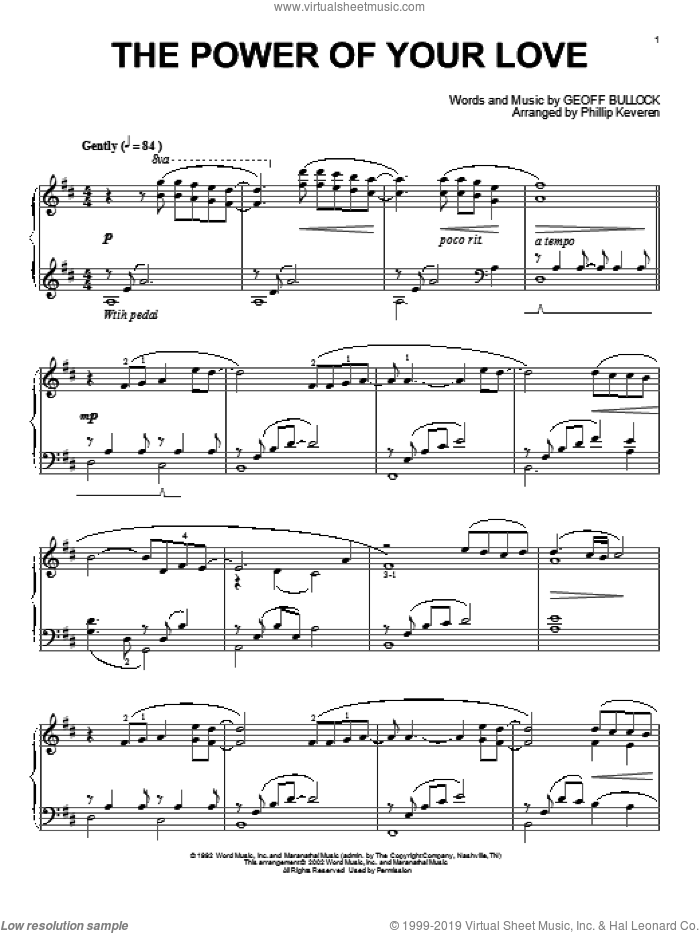 The Power Of Your Love sheet music for piano solo by Phillip Keveren and Geoff Bullock, intermediate. Score Image Preview.