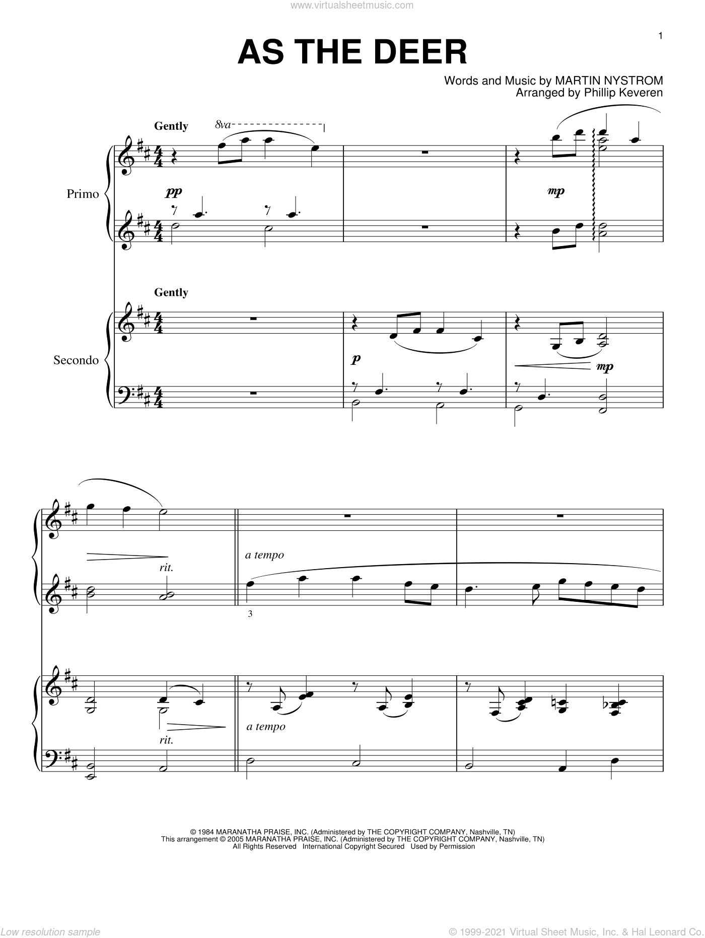As The Deer sheet music for piano four hands by Phillip Keveren and Martin Nystrom, intermediate skill level