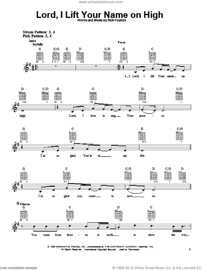 Lord, I Lift Your Name On High sheet music for guitar solo (chords) by Rick Founds, easy guitar (chords)